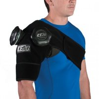 Man wearing ICE20 Double Shoulder Ice Compression Therapy