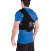 man wearing ICE20 Upper Back Ice Compression Therapy Pack