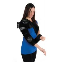 Woman applying ICE20 Combo Arm Ice Compression Therapy