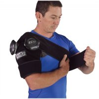 Man applying ICE20 Double Shoulder Ice Compression Therapy